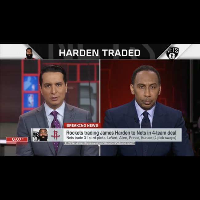Stephen A. Smith speaks on the James Harden trade to the Nets